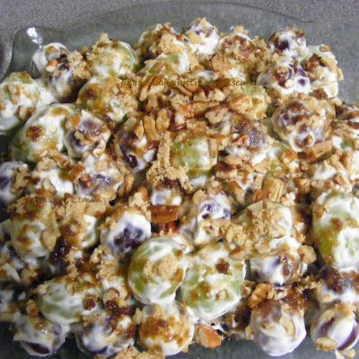 Grape Salad -  cool and refreshing fruit salad with a creamy cream cheese dressing and garnished with brown sugar and chopped pecans.