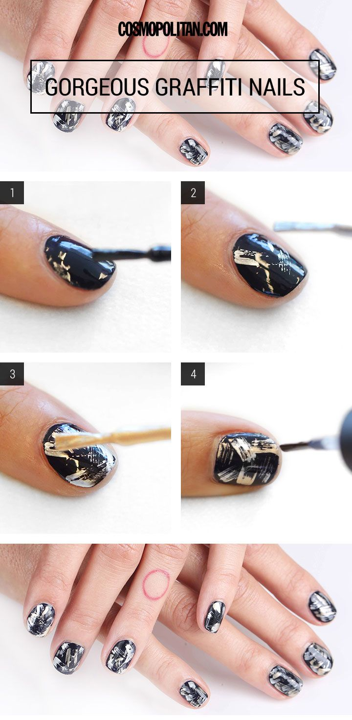 Edgy graffiti nails in navy, silver, and gold -- perfect for Hanukkah