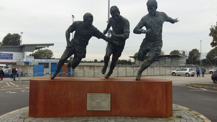 Statue outside Curzon Ashton FC, featuring the likes of Geoff Hurst who was born in Tameside