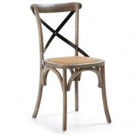 Silea - Hout - Grijs - Rottan - Laforma-Kave Stoere retro stoel! Ga terug in de tijd met deze houten stoel en rottan zitting. De stoel is van iepen hout en is afgewerkt met een 'kruis' om de rug nog beter te ondersteunen.
