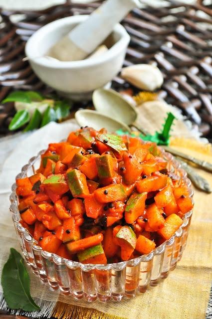"Easy ""Make-Ahead"" Onam recipe that is a ""must try"" !!- Kadumanga Achar (Spicy Kerala Mango Pickle)"