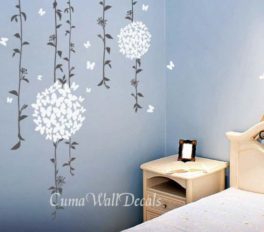 Wall decal pink flowers nature vinyl wall decals butterfly for Butterfly wall mural stickers