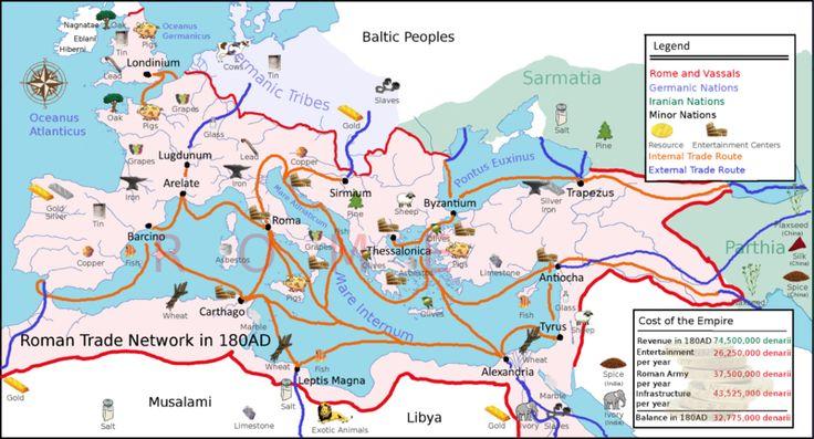 180 AD Roman trade map