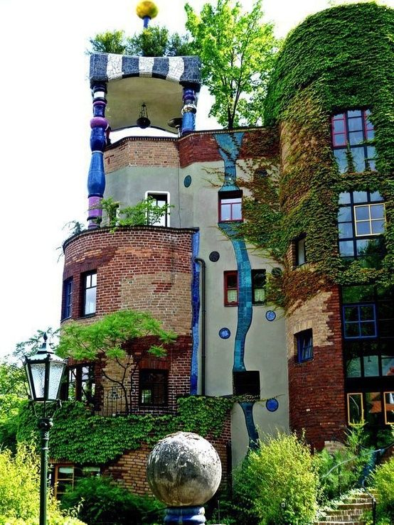 Hundertwasser house in Vienna. Meghan saw this when we sang in Vienna.  No greenery because it was winter.