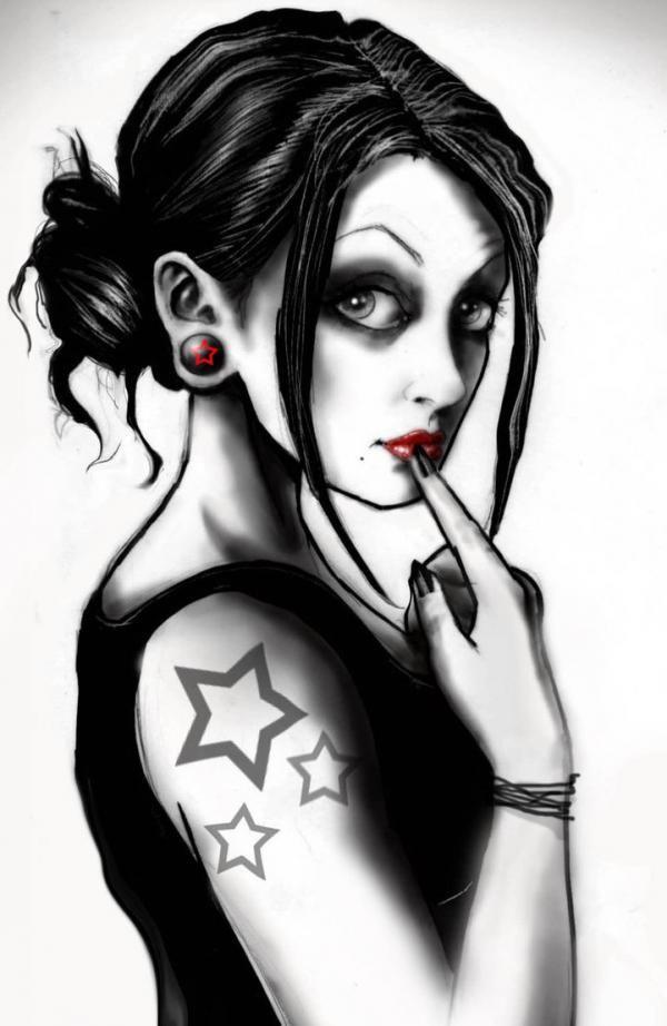 Pinup girls by Marcus Jones: Goth Girls, Stars Tattoo, Stars Girls, Marcus Jones, Art, Stars Stars, Gothic Girls, Pinup Girls, Pin Up