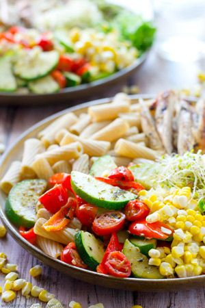 Loaded with just about every veggie on the planet and lots of grilled chicken, these super-fresh, California-style pasta bowls are an awesome summer dinner!