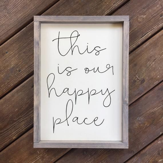 This Is Our Happy Place Framed Wood Sign Inspirational Wall Hanging Custom Home Decor Gallery Wall Piece Typography Art In 2020 Wood Signs Wall Decor Quotes Frame