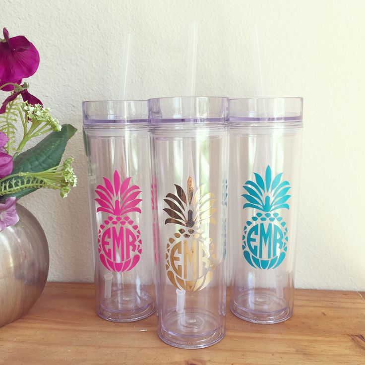 Pineapple Monogram Tumbler, Skinny Tumbler, Bridesmaid Gifts, Bachelorette Party, Name Tumbler Cup, Tumbler With Straw, Monogrammed Tumbler by SweetSouthernRoseTX on Etsy https://www.etsy.com/listing/478131831/pineapple-monogram-tumbler-skinny