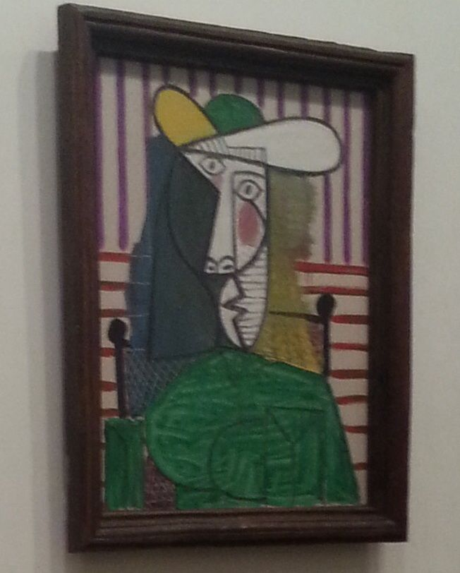 "This is ""Pablo Picasso- bust of a woman"" I like this design as it's abstract I think this is why I picked it because it is a portrait that's humorous and doesn't has to be precise and perfect. The colours complement each other and the green colour of the bust stands out the most."