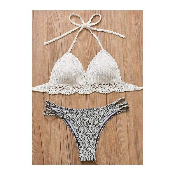 Halter Neck Knitted Cutout Low Waist Bikini Set (230 SEK) ❤ liked on Polyvore featuring swimwear, bikinis, grey, cut out bikini swimwear, bikini two piece, halter bikini swimwear, print swimwear and halter-neck bikinis