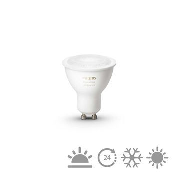 Bec LED Philips Hue 5.5W GU10 White Ambiance https://www.etbm.ro/philips-hue-connected-lighting  #led #ledphilips #philips #lighting #etbm #etbmro #philipsled #lightingfixtures #lightingdyi #design #homedecor #hue #philips hue #huebulbs #lamps #bedroom #inspiration #livingroom #wall #diy #scenes #hack #ideas