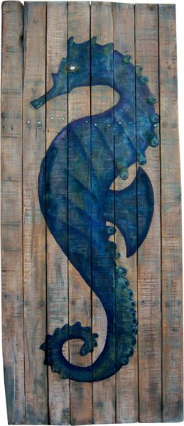 """Handcrafted using recycled materials and reclaimed wood from fences and structures around coastal California.  Each one of a kind Seahorse is hand painted, signed & numbered by California artist, Billy Hemingway. Each piece is approx 67""""h x 32""""w $ 830--"""