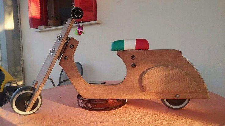 Wooden balance bike vespa selle italia.