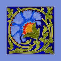 """125 Art Nouveau tile by Minton (1906). Courtesy of Robert Smith from his book """"Art Nouveau Tiles with Style"""". Image enhancement by streets-of-barcelona.com"""