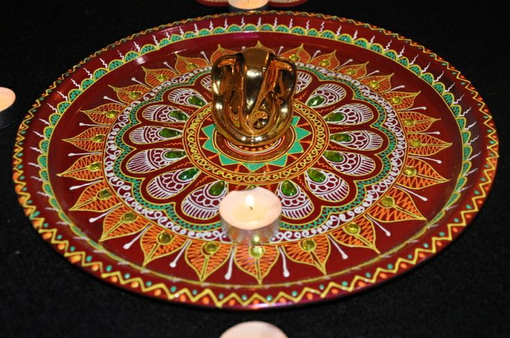 1000 images about thali decoration on pinterest card for Aarti thali decoration