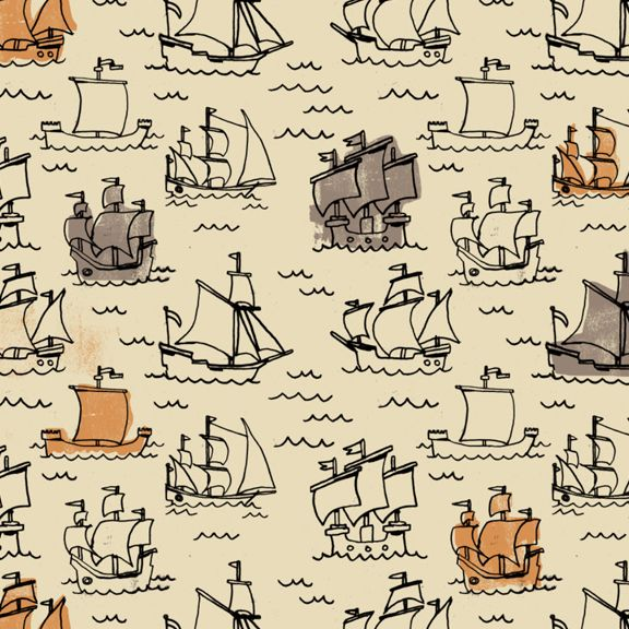 pirate ship pattern. hmm...decoupage a tray, door panel, book cover, storage box, shelf liner....