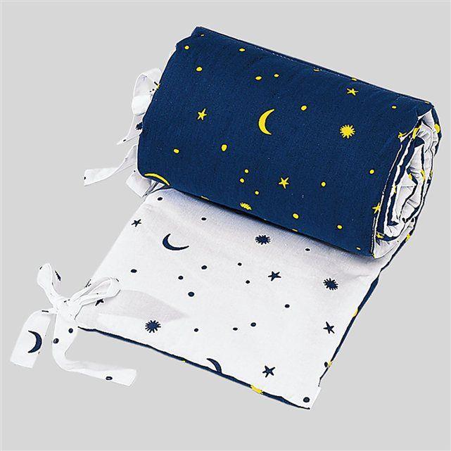 SONNE Tour de lit « Etoiles et lune » tour de lit tour de lit bébé SONNE : prix, avis & notation, livraison.  Ouatine toute douce en non-tissé et rubans de fixation. Convient pour les lits d'une dimension de 70 x 140 cm. Dessus