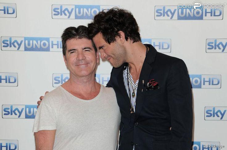 """Simon Cowell, Mika à la conférence de presse """" Italia's Got talent """" à Milan en Italie, le 15 mai 2015"""