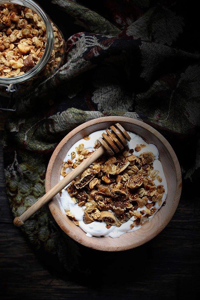 {Rosemary, honey, walnut and dried fig granola.}