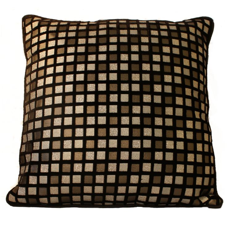 Add elegance to your living room with this black cushion cover in velvet. This cushion cover is ready to give your home a new , refreshing and trendy look due to its beautiful checks in contrast. The color combination of grey , black and silver add unique feature which will surely impress your visitors. FEATURES:  16 INCHES X 16 INCHES / 40.5 CM X 40.5 CM