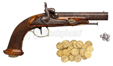 Antique Pistol, Round Shot, Gold Coins. Isolated on White. Royalty Free Stock Photo