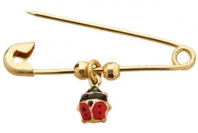 Lady Beetle Gold & Enamel Pin $114.95 at the Greek Wedding Shop ~ http://www.greekweddingshop.com/