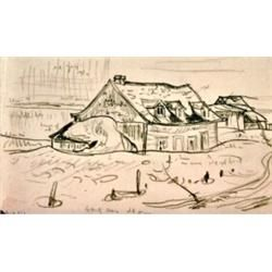 Alexander Young Jackson (A.Y.) 1882-1974 RCA, OSA, CGP, G7 Solid Old House (Quebec) Graphit...