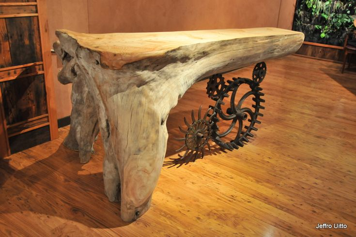 Knock on Wood    Gallery  I want this table, it's like a funky reflection of Mike and I, tree hugger and machinist
