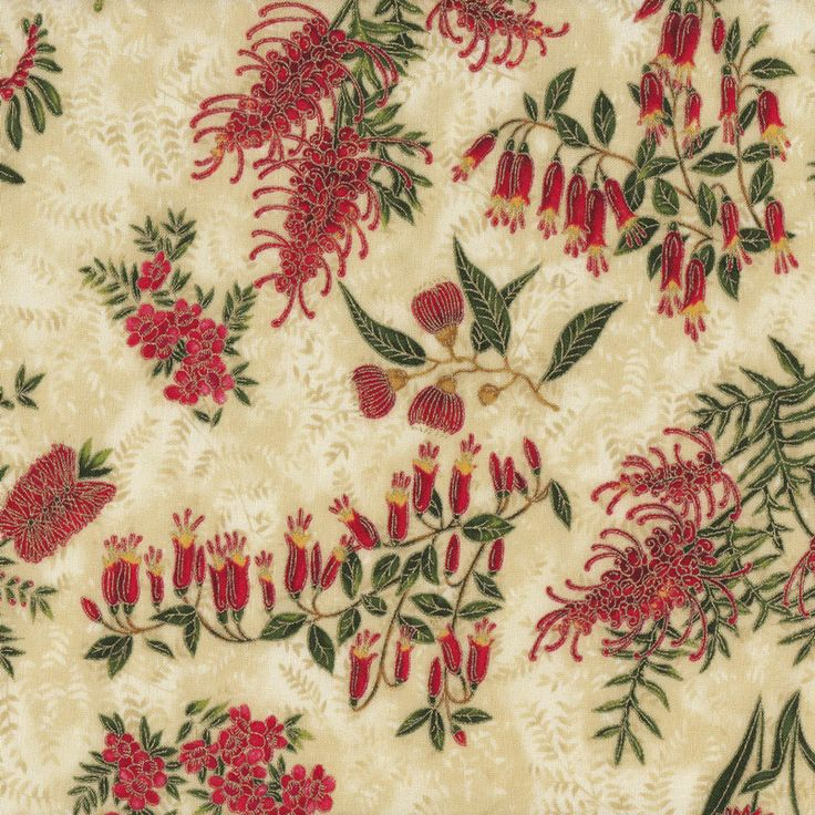 Australian Sun Grevillea Bottlebrush Native Flowers Beige Quilting Fabric - Find a Fabric.  Available to purchase in Fat Quarters, Half Metre, 3/4 Metre, 1 Metre and so on.