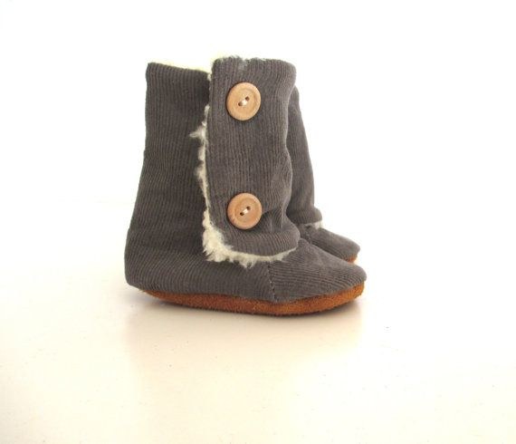 Grey Corduroy Baby Winter Boots by jengalaxy on Etsy
