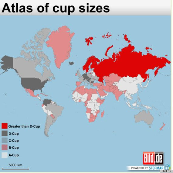Boob Map Of The World Shows Biggest Boobs In The World, Breast Size By Country  So why is it so hard to find a bra bigger than D is D is average????????  Ahgh!!