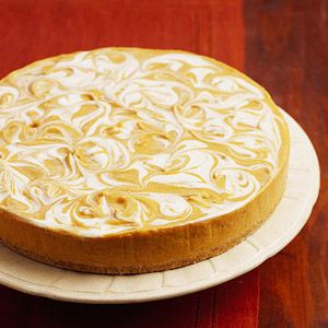 Instead of traditional pumpkin pie, try this pretty dessert for your holiday dinner. A narrow, thin-bladed spatula or a table knife works best for swirling the layers.