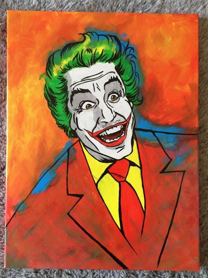 The Joker - Cesar Romero Hand Painted Pop Art Canvas by PopEmporium on Etsy