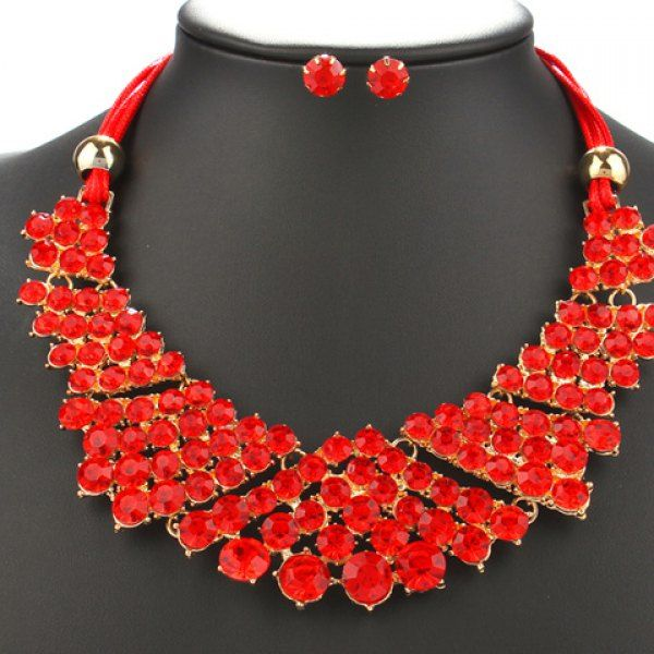 A Suit of Trendy Red Rhinestone Beads Necklace and Earrings For Women #shoes, #jewelry, #women, #men, #hats