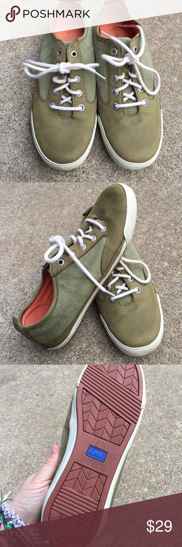 Women's Green Canvas & Leather Keds Sneakers 8.5M Women's Olive Green Canvas & Leather Keds Sneakers 8.5M Awesome Keds Shoes Sneakers