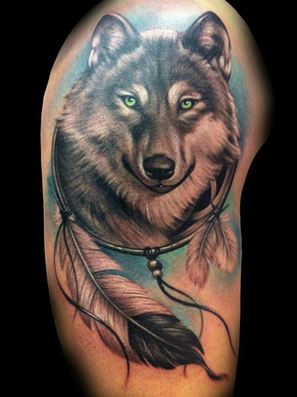 Indian style Wolf Tattoo