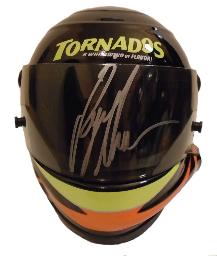 """Ryan Newman Autographed 1:3 Scale Nascar Tornados #39 Mini Helmet, Proof Photo. This is a Ryan Newman signed 1:3 Scale Tornados #39replica Nascar racing mini helmet.The helmet measures approximately 6 3/4"""" long x 5 1/2"""" wide x 5"""" tall. Ryansigned the helmet visor in silversharpie.Check out the photo of Ryansigning for us. ** Proof photo is included for free with purchase. Please click on images to enlarge. Please browse our websitefor additional Nascarand Racingautographed…"""