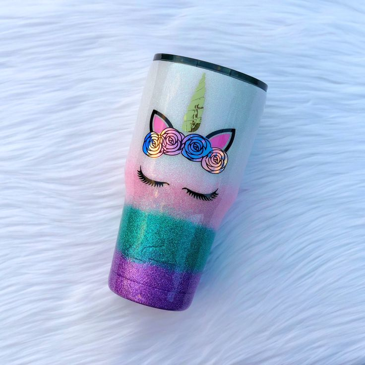A personal favorite from my Etsy shop https://www.etsy.com/listing/582790132/yeti-glitter-tumblerunicorn-yeti-cup