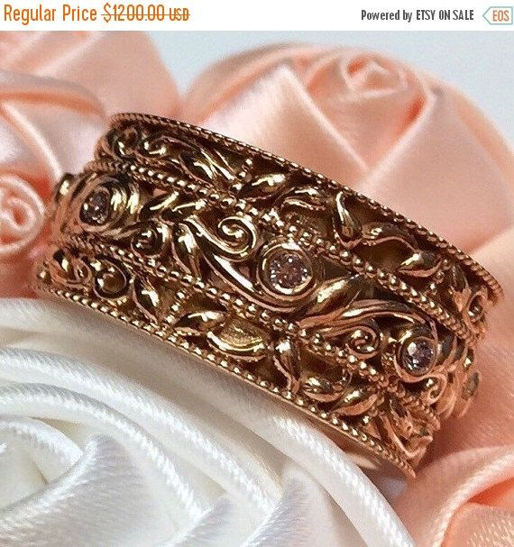 ON SALE Pink Diamonds Wedding Band, Rose Gold Engagement Band, Pink Diamonds ring, Wide Rose Gold Wedding Ring, Handmade Engagement ring by BridalRings on Etsy https://www.etsy.com/listing/464164615/on-sale-pink-diamonds-wedding-band-rose