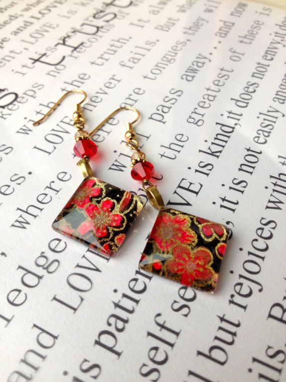 Japanese Washi Paper Under Glass Earrings in by KimberlysCraftini, $20.00