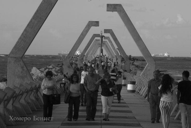 Un Sábado en el paseo de la escollera poniente de Coatzacoalcos, Veracruz