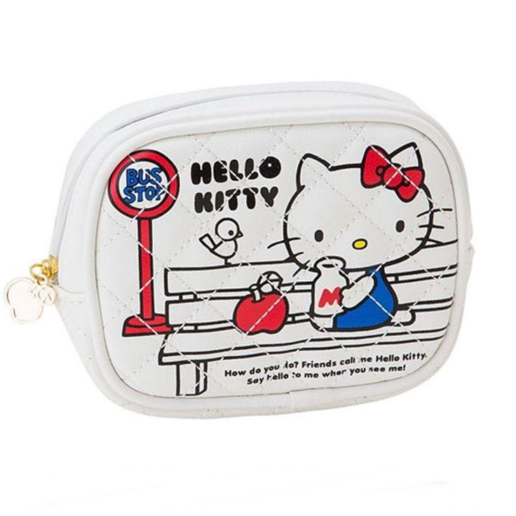 Sanrio Hello Kitty Apple Makeup Multi Pouch Leather Purse Mini Bag White GKHK030