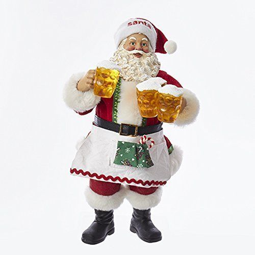 Xmas Santa Claus Decoration Christmas Fabric Holding Beer 11 Inches  #KurtAdler=> Easy & pleasant transaction => Quick delivery => 100% Feedback => http://bit.ly/24_hours_open #Christmas,#tree,#decor,#Santa,#xmas,#decoration,#inflatable,#holiday,#party,#sandaclaus,#yard,#garden,#patio,#accessories