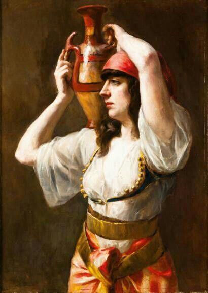Algérie -Peintre Joseph Narcisse BAUDIN (1820-1890) Huile sur toile, Titre : Jeune kabyle portant une cruche
