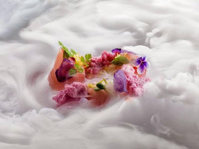 Amberjack marinated in white balsamic vinegar with pomegranate snow by #Heinz Beck  ristorante #lapergola #roma