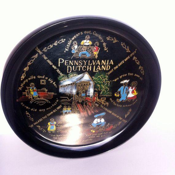 Pennsylvania Dutch Land Plastic Serving Tray Vintage by Pesserae, $10.00
