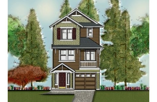 Craftsman style house plan 3 beds baths 1853 sq ft for House plans 3 car garage narrow lot