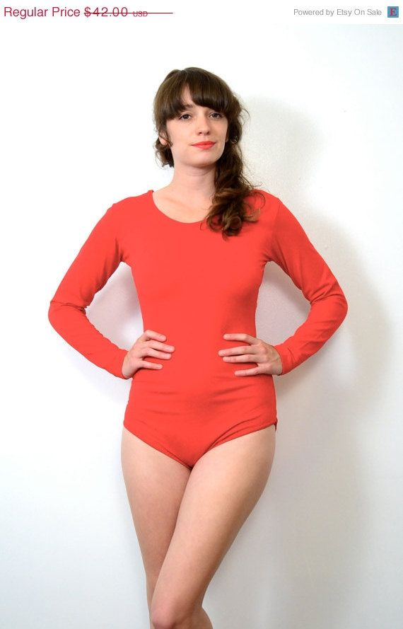May Sale // 1980s Lipstick Red Leotard // Medium by SpanoVintage, $33.60