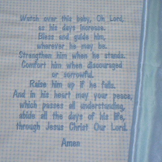 Hey, I found this really awesome Etsy listing at https://www.etsy.com/listing/72145971/embroidered-baby-blanket-blessings