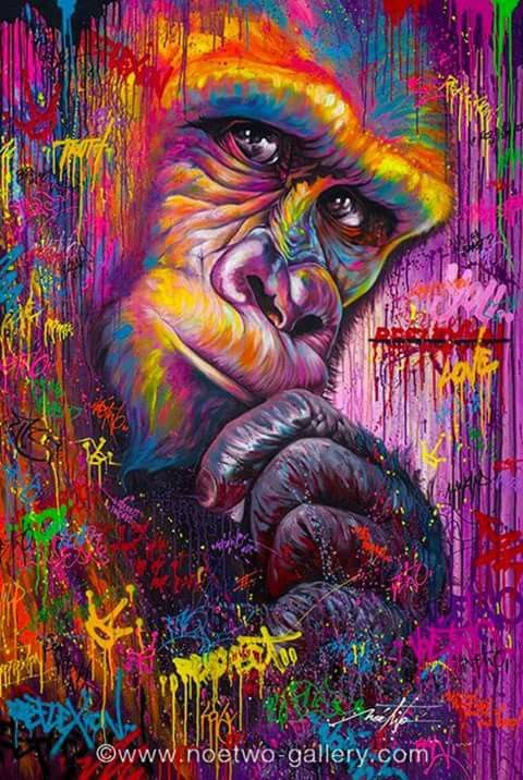 Noe Two | Gorgeous Colourful Gorilla Urban Street Art